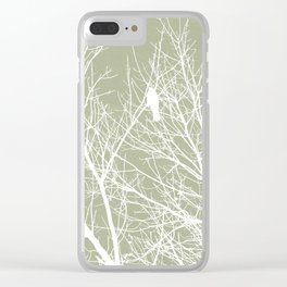 White Bird in White Tree - Moss A593 Clear iPhone Case