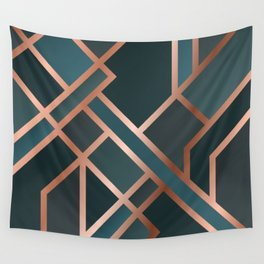 Green Art Deco Wall Tapestry