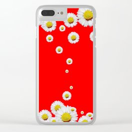 CHINESE RED WHITE DAISIES MODERN ART Clear iPhone Case