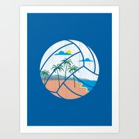 volleyball Art Prints featuring Beach Volleyball by Erik Sandi Satresa