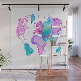 Modern world map globe bright watercolor paint Wall Mural