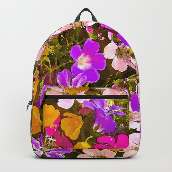 Colorful meadow flowers #Society6 #buyart Backpack