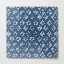 Simple Leafy pattern blue Metal Print