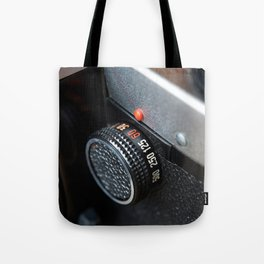 Control dial shutter speed on retro photo camera Tote Bag