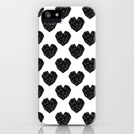 Hearts black and white geometric minimal abstract valentines day gift for gender neutral him or her  iPhone Case