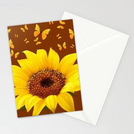 COFFEE BROWN YELLOW SUNFLOWER & BUTTERFLIES Stationery Cards