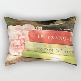 Pink Peony and French Books Still Life Rectangular Pillow