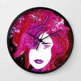 Flower Power SpaceGirl Wall Clock