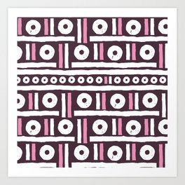 Geometrical pink white hand painted stripes polka dots pattern Art Print