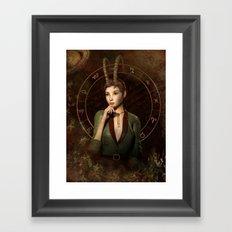 Capricorn zodiac fantasy circle Framed Art Print