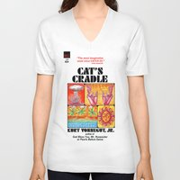 vonnegut V-neck T-shirts featuring Vonnegut - Cat's Cradle by Neon Wildlife