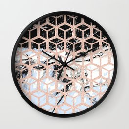 lilac marble with rose gold cube pattern Wall Clock