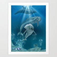Hello Dolphin Art Print
