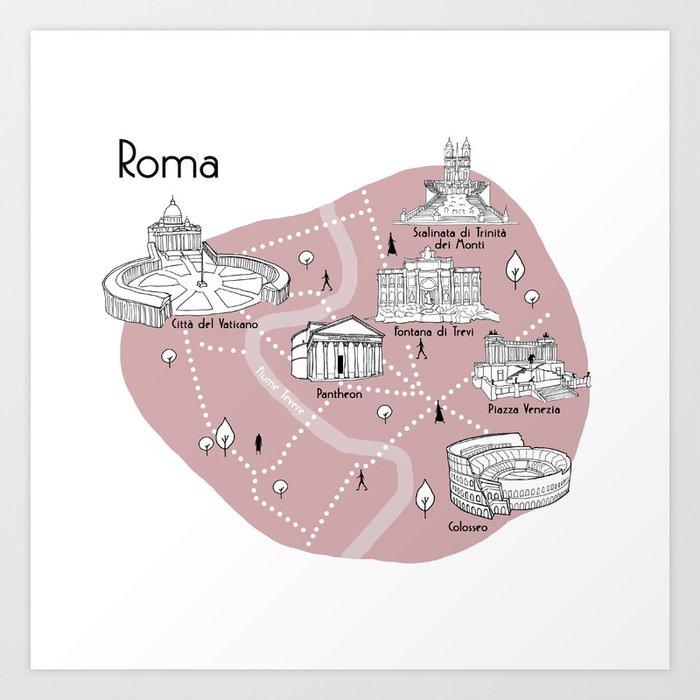Mapping Roma - Pink Kunstdrucke