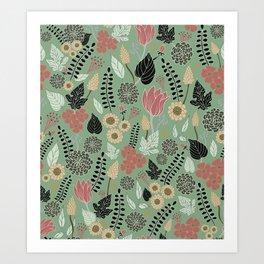 Pink & Green Floral Pattern Art Print