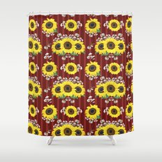 The Striped Red Fresh Sunflower Seamless Pattern Shower Curtain