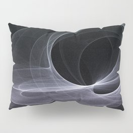 Fractal Wave Abstract Lines Purple White Teal on Black Pillow Sham