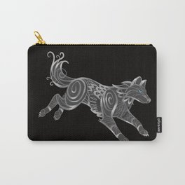 Shimmering Silver Ghost Wolf Carry-All Pouch