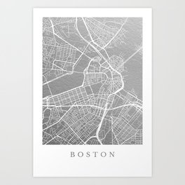 Silver Boston map Art Print