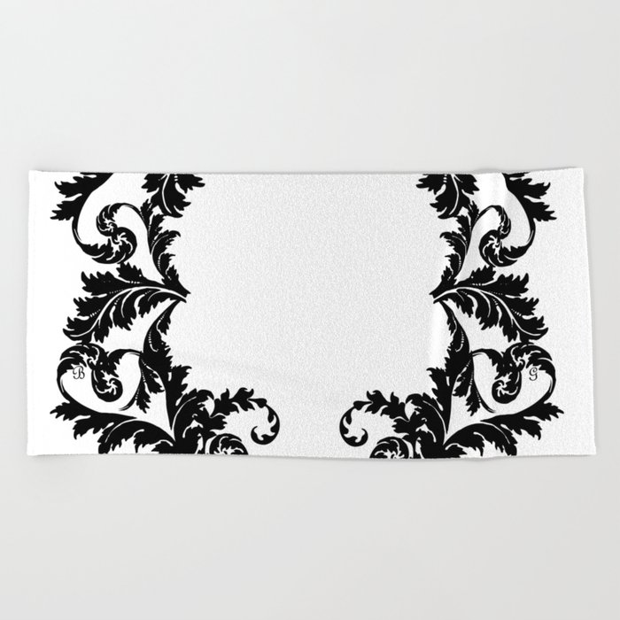 Black and white floral face ornament Beach Towel