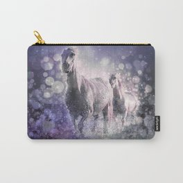 Blue Wild Horses Mixed Media Art Carry-All Pouch