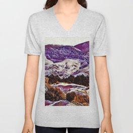 Winter Purple Pink Hills by CheyAnne Sexton Unisex V-Neck