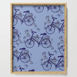 Bicycle and Floral Ornament Serving Tray