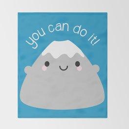 You Can Do It! Kawaii Mt Fuji Throw Blanket