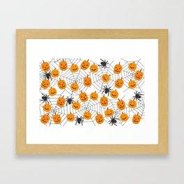 Halloween Pattern Spider Pumpkin Framed Art Print