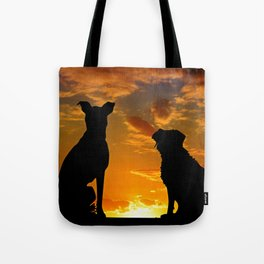 TWO DOGS AT SUNSET Tote Bag