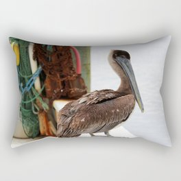 Pelican Waiting On Seafood Rectangular Pillow