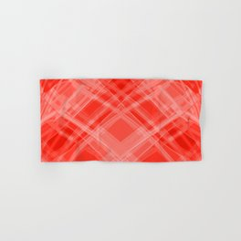 Swirling red ribbons with a pattern of symmetrical checkerboard rhombuses.  Hand & Bath Towel