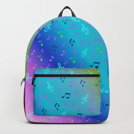 colorful blue music notes abstract, art, artistic, background, bass, beautiful, classical, clef, cre Backpack