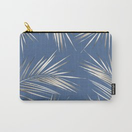 White Gold Palm Leaves on Ocean Blue Carry-All Pouch