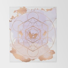 Light Me Up and Away - Copper Rose Gold Throw Blanket