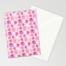 Colorful lotus flower pattern on white background Stationery Cards