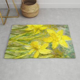 Rise and Shine, Watercolor Daffodils Painting Rug