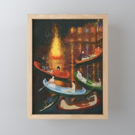 'Fete on the Water with Friends' painting portrait by Florine Stetthimer Framed Mini Art Print
