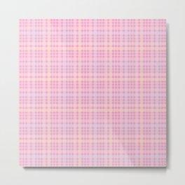 Pink, Blue & Orange Plaid Pattern Metal Print