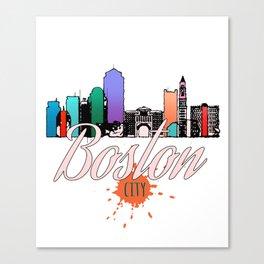Colorful Boston Skyline Art Tee Canvas Print
