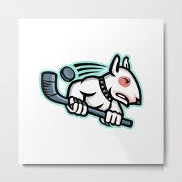 Bull Terrier Ice Hockey Mascot Metal Print