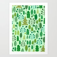 forrest Art Prints featuring Forrest by Holly van Who