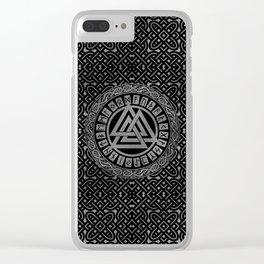 Silver Metallic Valknut Symbol on Celtic Pattern Clear iPhone Case