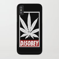 cannabis iPhone & iPod Cases featuring Cannabis Disobey by Spyck