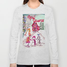 Merry Christmas Snowgirl Long Sleeve T-shirt