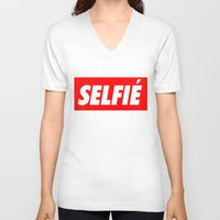 selfie V-neck T-shirts featuring Selfie by Poppo Inc.
