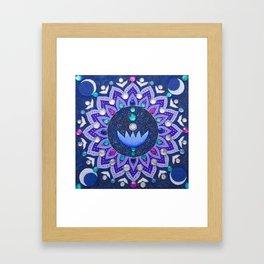 Lotus and Moon Phases Jewelled Mandala Framed Art Print