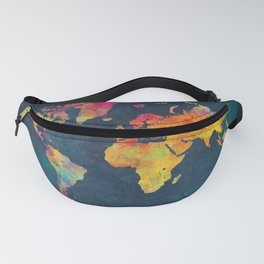 World Map blue #world #map Fanny Pack