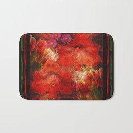 Floral impressionism in passionated red Bath Mat