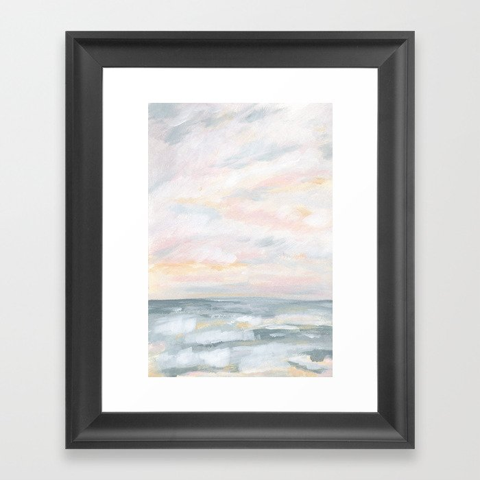 You Are My Sunshine - Gray Pastel Ocean Seascape Gerahmter Kunstdruck